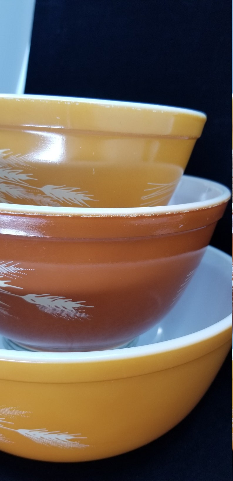 401 PYREX Autumn Harvest Nested Mixing Bowl Set 403 Rust /& Orange 1979-86 402