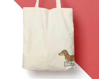 Organic cotton dachshund tote bag