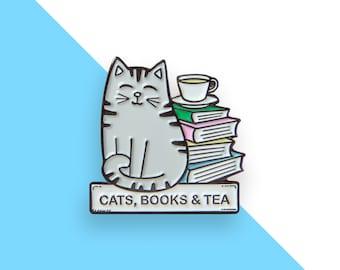 Cats, books and tea - Cat enamel pin
