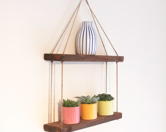 Double vintage floating hanging shelf handmade from reclaimed wood  - Living, Dining, Bathroom, Gift - FREE UK Shipping