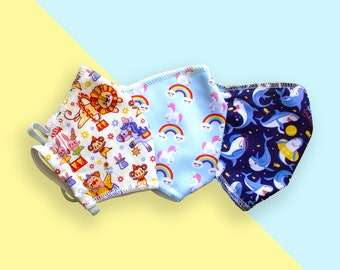 Soft cotton kids face mask with fabric filter. Washable and reusable child facemask. Cotton children face mask. 3 designs available