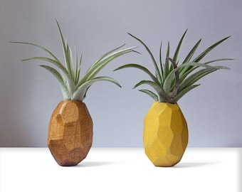 Pineapple Air Plant Holder, Pineapple Airplant, Geometric Air Plant, Air Pineapple Pot, wooden Pineapple Planter, Air Plant magnet