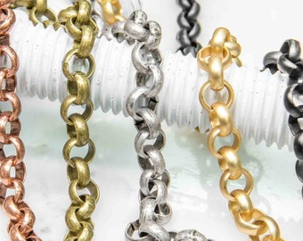 7mm Rolo Belcher Chain Available in 8 Finishes 10ft Spools