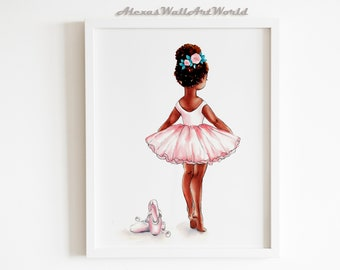Clipart Instant Download 3 Skin Tones Vintage Baby Girl Ballerina Maroon Burgundy Dark Red Tutu Pink Sneakers Rose Gold Crown