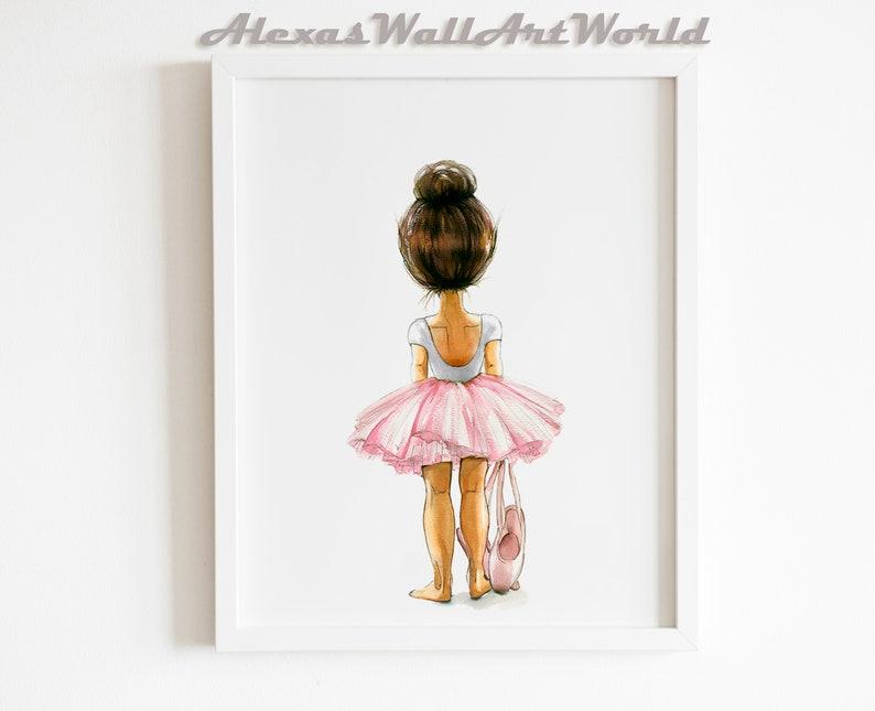 Wall Art for Girls Ballerina Nursery Print Soft Watercolour image 0
