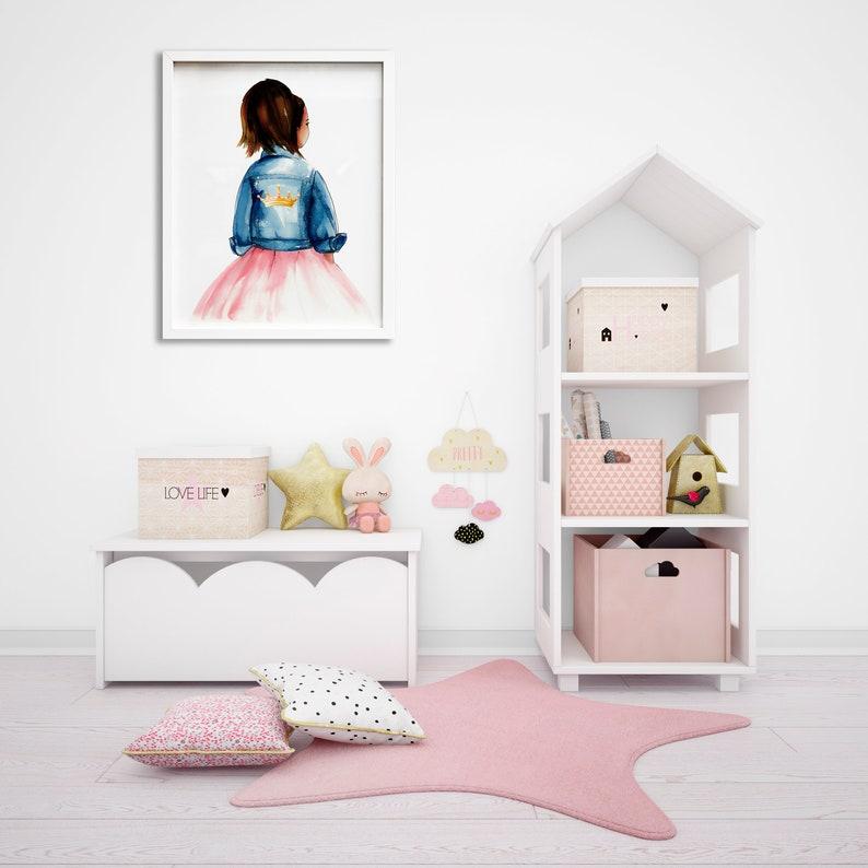 Dark Skin Young Queen Wall Art Printable Black Girl Magic Toddler Girl Bedroom Wall Art African American Princess Girl Art