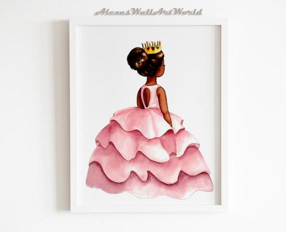Girls Room Young Queen Art 3 Printable Black Girl Magic African American Illustration Printable Wall Art African American Art