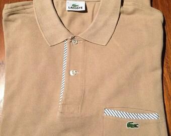 ec934ba75796 Vintage Lacoste Polo shirt Lacoste 5 Size L Rare Beige Trixl Simon
