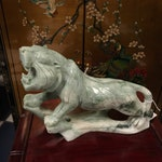 """Hand Carved Jadite Tiger - 8"""" tall x 11"""" long.   Free shipping"""