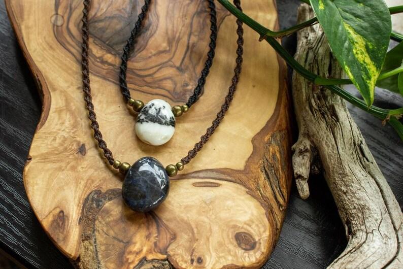 Zebra Jasper macrame necklace black