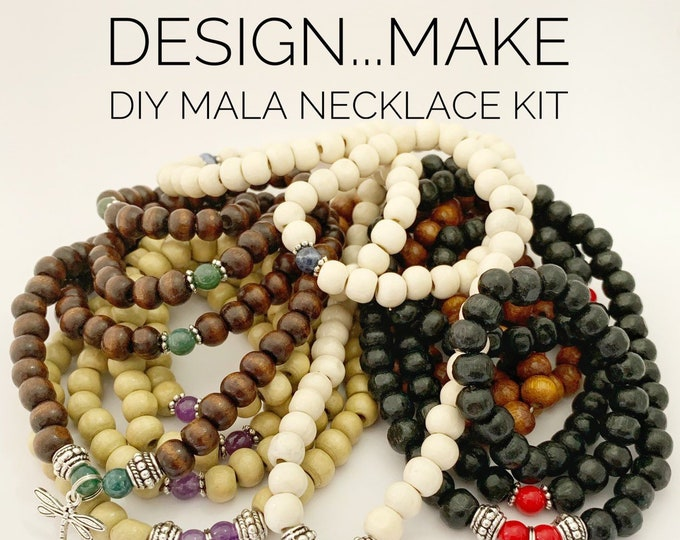 Featured listing image: Design...Make - DIY Mala Necklace Kit - DIY Kit - 108 Beads - Prayer Beads - Custom Mala Necklace Kit