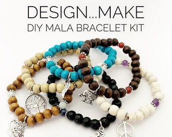 Design...Make - DIY Mala Bracelet - DIY Kit - 27 Beads - Prayer Beads - Custom Mala Bracelet Kit - Intention Bracelet - Simple Reminder