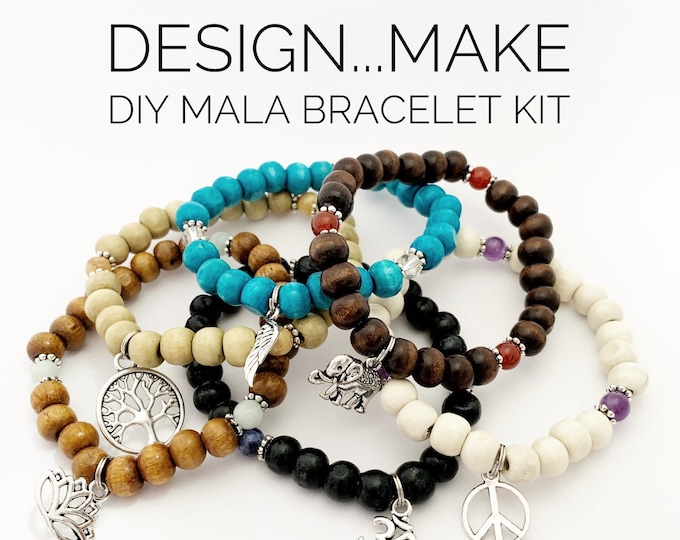 Featured listing image: Design...Make - DIY Mala Bracelet - DIY Kit - 27 Beads - Prayer Beads - Custom Mala Bracelet Kit - Intention Bracelet - Simple Reminder