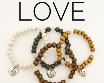 LOVE / Simple Reminder Bracelet / Mala Bracelet / Rose Quartz / Heart