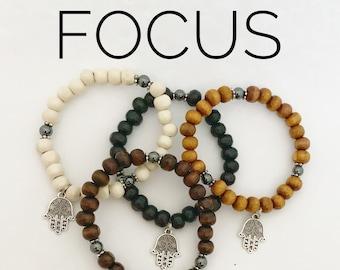 FOCUS / Simple Reminder Bracelet / Mala Bracelet / Hematite / Hamsa Charm
