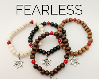 FEARLESS / Simple Reminder Bracelet / Mala Bracelet / Red Jade / Boat Wheel
