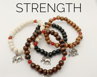 STRENGTH / Simple Reminder Bracelet / Mala Bracelet / Carnelian / Elephant