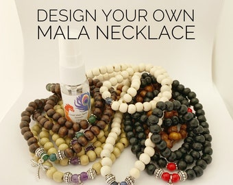 Design Your Own Mala Necklace - Includes Good Vibes Spritz - 108 Beads - Prayer Beads - Mala Beads - Meditation Talisman