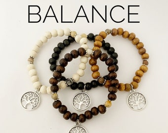 BALANCE / Simple Reminder Bracelet / Mala Bracelet / Crazylace Agate / Tree of Life