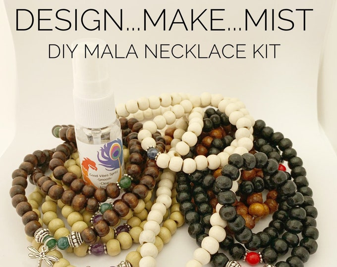 Featured listing image: Design..Make..Mist - DIY Necklace Kit - Create Your Own Mala Necklace - DIY Kit - 108 Beads - Prayer Beads - Custom Mala Necklace Kit