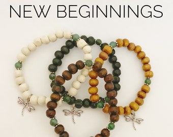 NEW BEGINNINGS / Simple Reminder Bracelet / Mala Bracelet / Moss Agate / Dragonfly