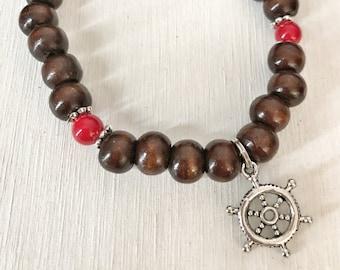 FEARLESS / Simple Reminder Bracelet / Mala Bracelet / Red Jade / Boat Wheel