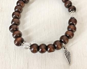 HEALING / Simple Reminder Bracelet /  Mala Bracelet / Clear Quartz / Angel Wing