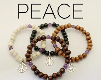 PEACE / Simple Reminder Bracelet / Mala Bracelet / Amethyst / Peace Charm
