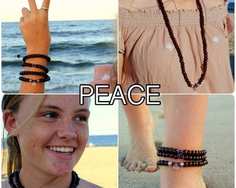 PEACE / Prayer Beads / Mala Beads / Mala Necklace / Amethyst / Peace Charm