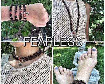 FEARLESS / Prayer Beads / Mala Beads / Mala Necklace / Red Jade / Boat Wheel