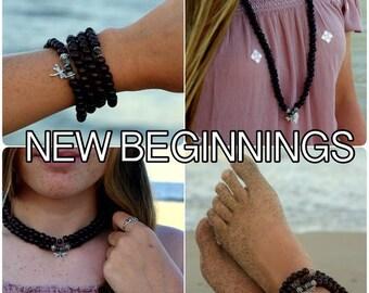 NEW BEGINNINGS / Prayer Beads / Mala Beads / Mala Necklace / Moss Agate / Dragonfly