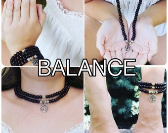 BALANCE / Prayer Beads / Mala Beads / Mala Necklace / Crazylace Agate / Tree of Life