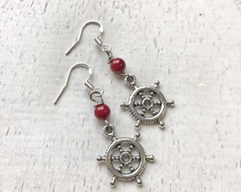 FEARLESS Earrings / Red Jade / Sterling Silver French Wires
