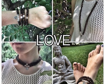 LOVE / Prayer Beads / Mala Beads / Mala Necklace / Rose Quartz / Heart
