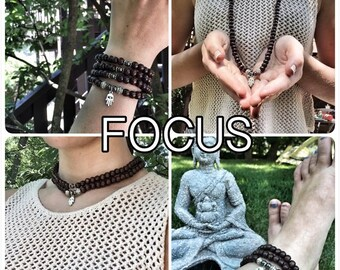 FOCUS/ Prayer Beads / Mala Beads / Mala Necklace / Hematite / Hamsa