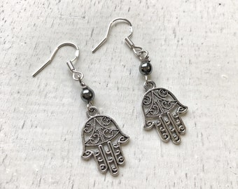 FOCUS Earrings / Hematite / Sterling Silver French Wires