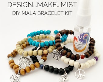 Design..Make..Mist - DIY Bracelet - Create Your Own Mala Bracelet - DIY Kit - 27 Beads - Prayer Beads - Custom Mala Bracelet Kit