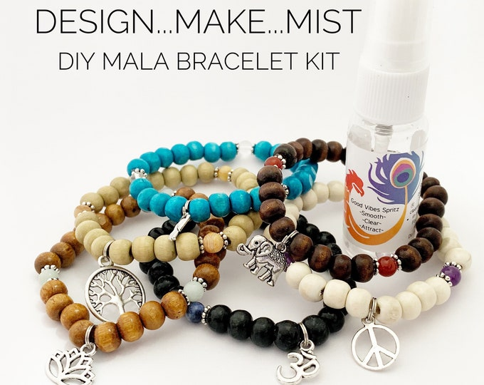 Featured listing image: Design..Make..Mist - DIY Bracelet - Create Your Own Mala Bracelet - DIY Kit - 27 Beads - Prayer Beads - Custom Mala Bracelet Kit