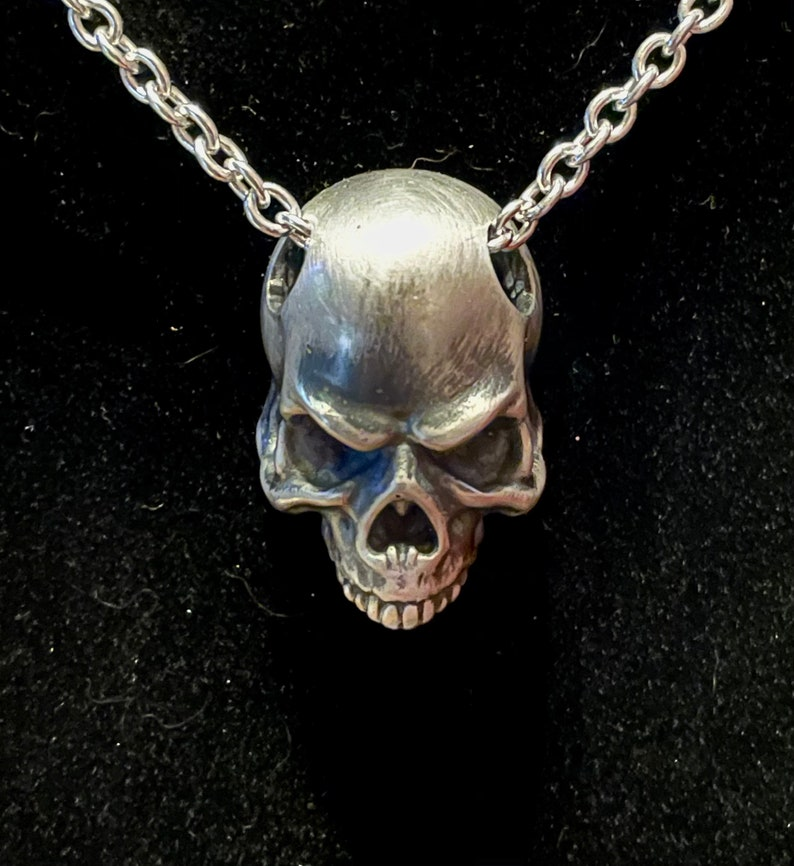 Handmade sterling silver skull pendant Heavy Skull Pendant With or without chain.