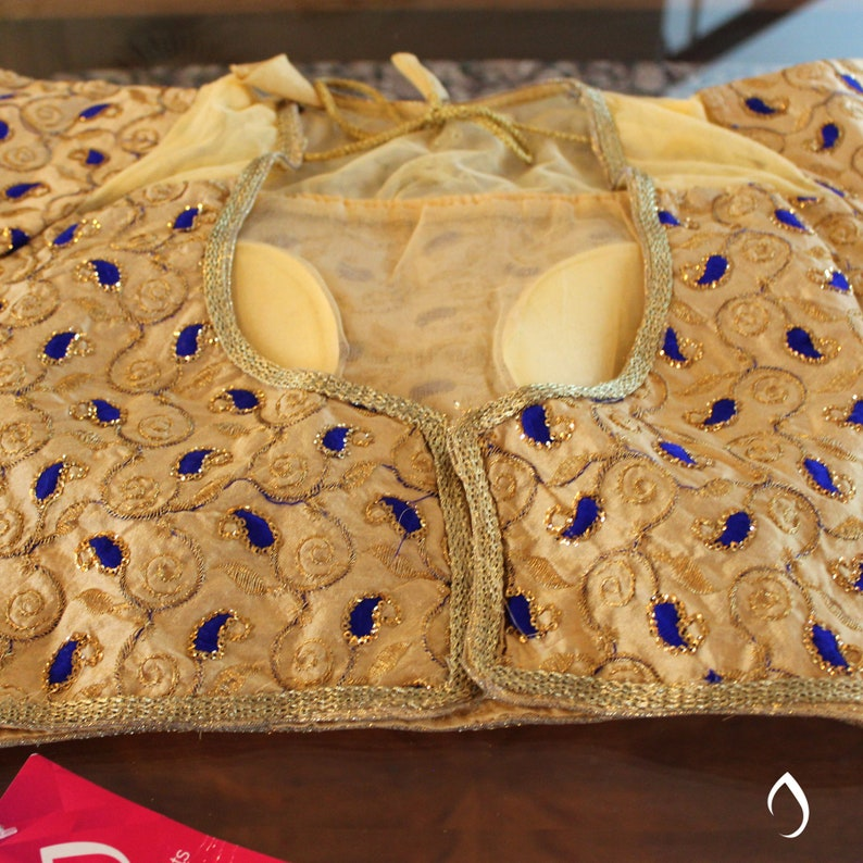 Gold blue readymade ready to wear cap sleeve padded Indian sarisaree blouse choli top tunic for girl women bride bridesmaid wedding party