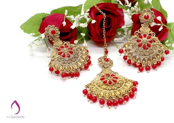 Gold zirconia maroon pearl necklace earrings tikka set indian Pakistani bridal jewellery