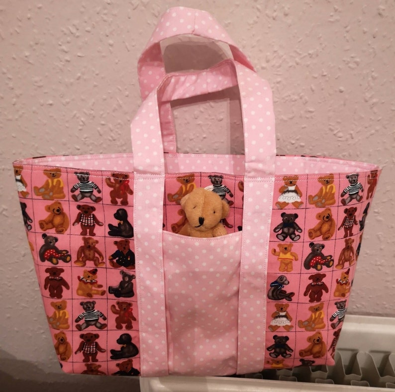 Childs Teddy Print Cotton Shopper Tote With Teddy In Front image 0