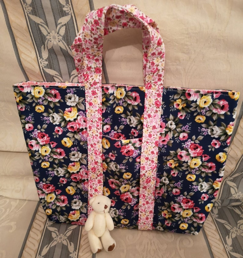 Childs Floral Cotton Shopper Tote With Teddy In Front Pocket image 0