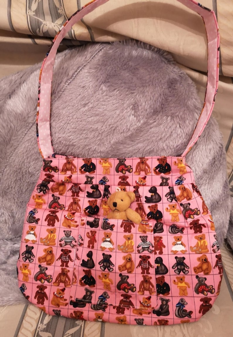 Childs Teddy Cotton Print Shoulder Bag With Teddy In Front image 0