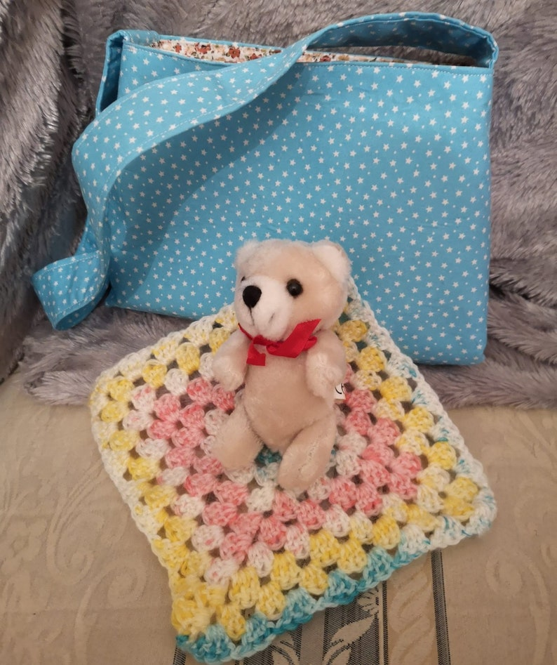 Childs Blue Stars Reversible Cotton Bag With Teddy In A image 0