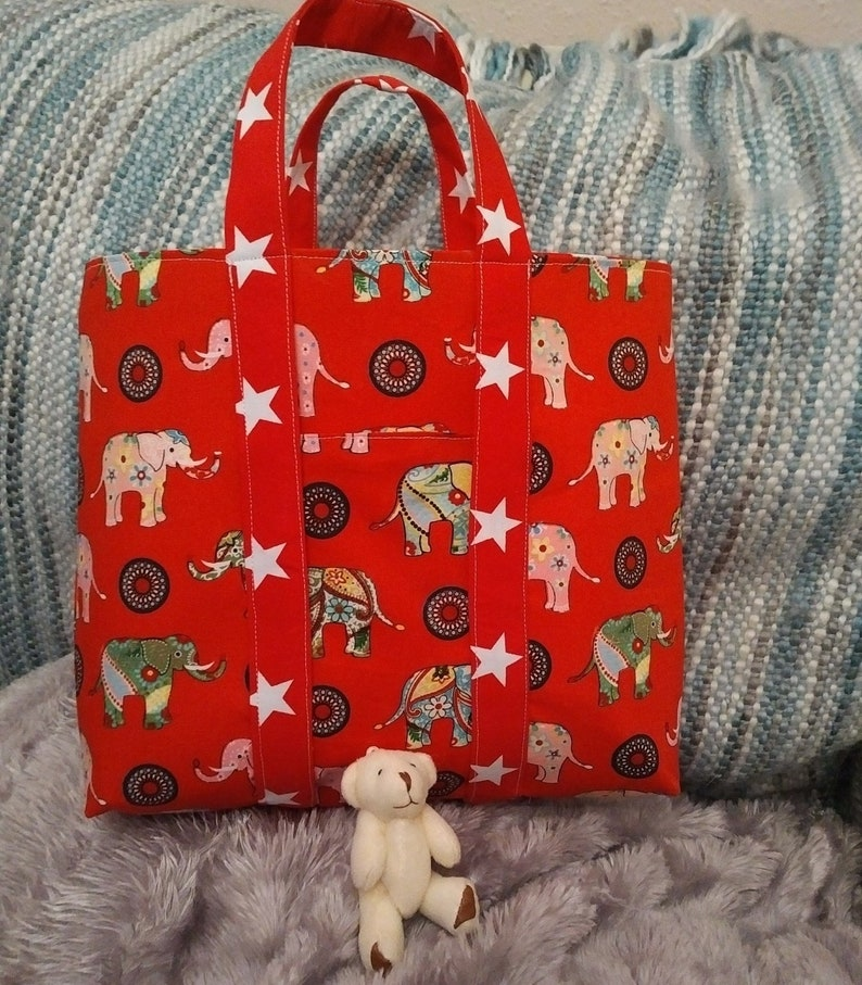 Childs Cotton Shopper Tote With Teddy In Front Pocket image 0