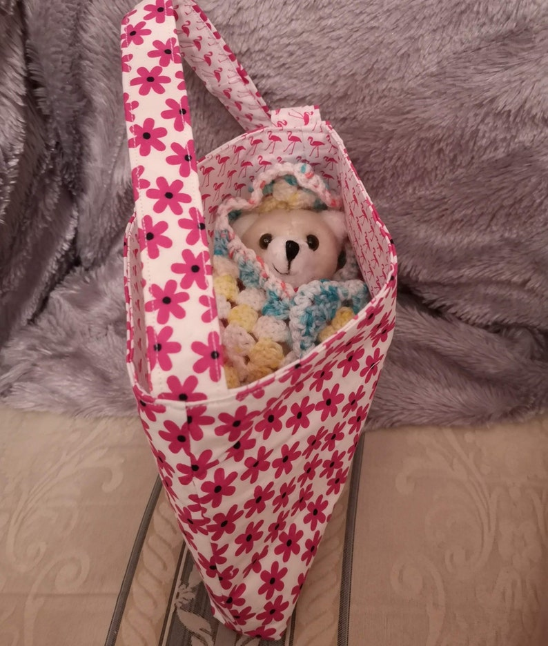 Childs Small Reversible Cotton Bag With Teddy In A Crochet image 0