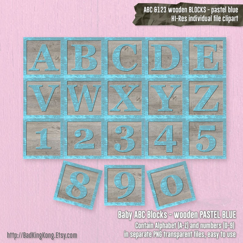 Abc Baby Boy Blocks 123 Baby Blocks Wooden Blocks Alphabets And Numbers Printable Clip Art Numbers Letters Abc Pastel Blue Baby Boy