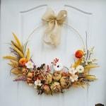 Modern Wreath for Front Door, Fall Wreath, Hoop Wreath, Fall  Home Decor , Thanksgiving Wreath