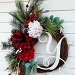 Monogrammed  Wreath for Front Door, Initial Door Wreath,Rustic Christmas Wreath,Winter Wreaths For Front Door ,All Season Wreath